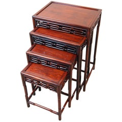 Antique Oriental Hardwood Nest of Coffee Tables