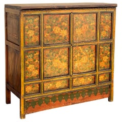 Antique Oriental Painted Hutch Cabinet