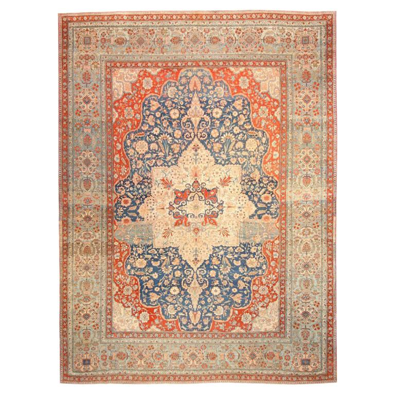 Antique Oriental Persian Mohtasham Kashan Rug. Size: 9 ft 2 in x 12 ft 2 in
