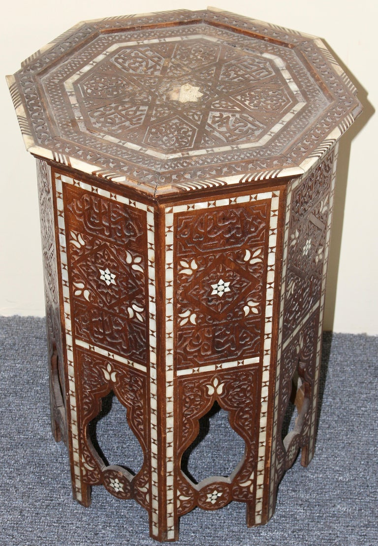 Hand-Carved Antique, Oriental Side 'Tea or Game' Table, Mother of Pearl Inlays, 19th Century For Sale
