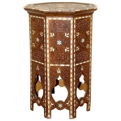 Antique, Oriental Side 'Tea or Game' Table, Mother of Pearl Inlays, 19th Century
