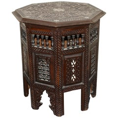 Antique, Oriental side (tea or game) table, mother-of-pearl inlays, 19th century