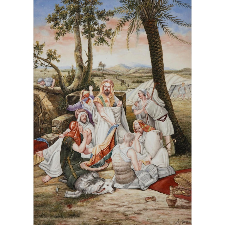 Orientalist German Painted KPM style porcelain plaque, German, 20th century Measures: Frame: Height 81cm, width 61cm, depth 5cm Plaque: Height 69cm, width 48cm, depth 0.5cm  This beautifully porcelain plaque is painted in a charming manner, with