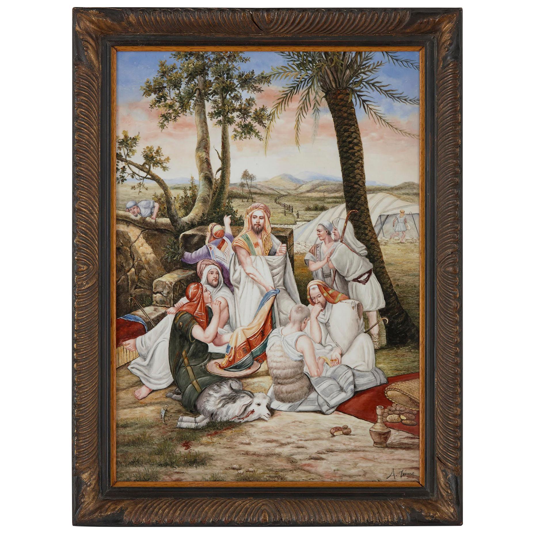 Orientalist German Painted KPM Style Porcelain Plaque