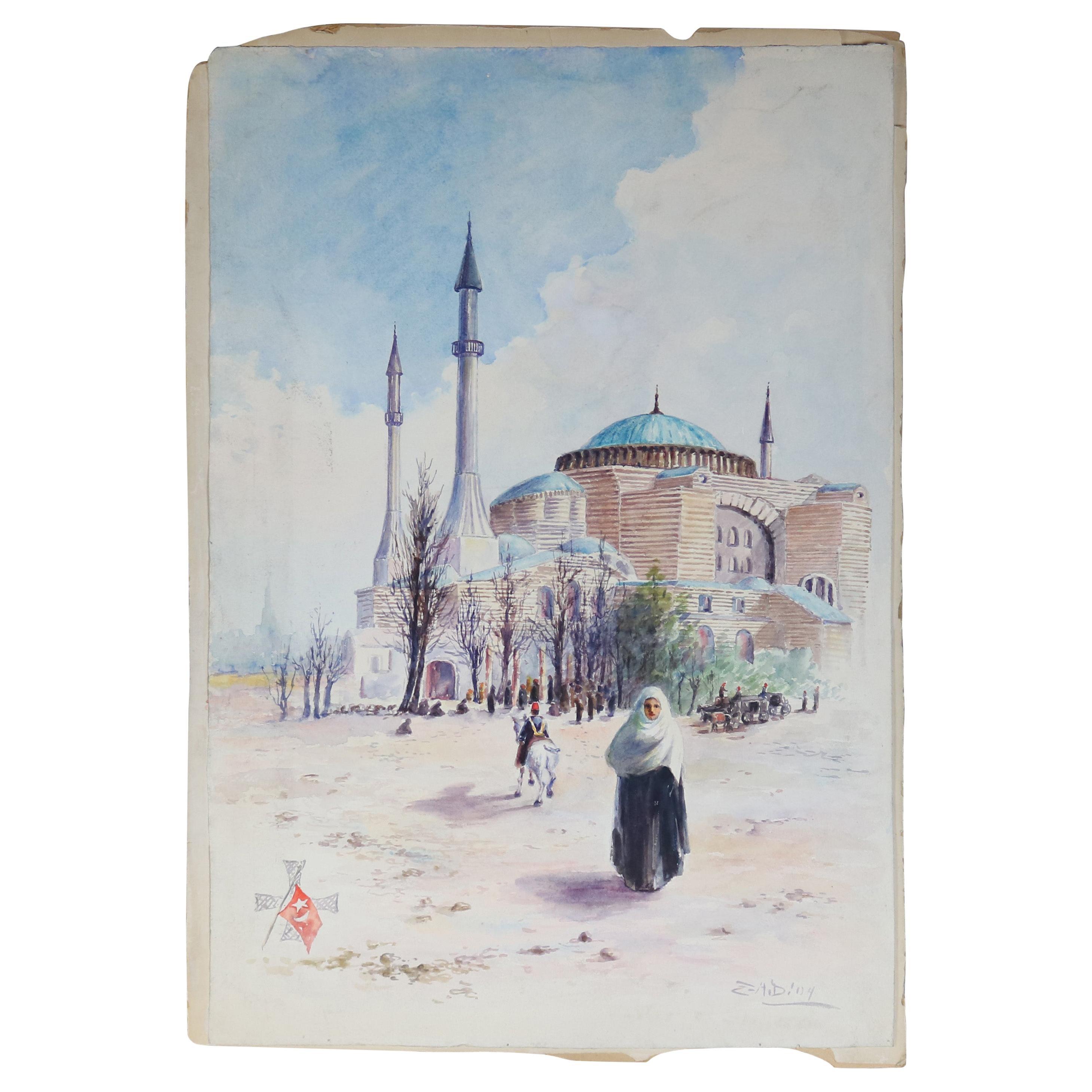 Antique Orientalist Moorish Watercolor on Paper, Signed, Circa 1900