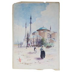 Antique Orientalist Moorish Watercolor on Paper, Signed, Circa 1900