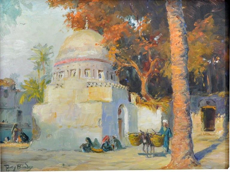 Antique orientalist painting of Cairo, Egypt by Anton 'Tony' Binder (1868-1944), oil on panel, circa 1895. The painting depicting a village scene in Cairo with a mosque and trees to the background, to the foreground a scene of village life with