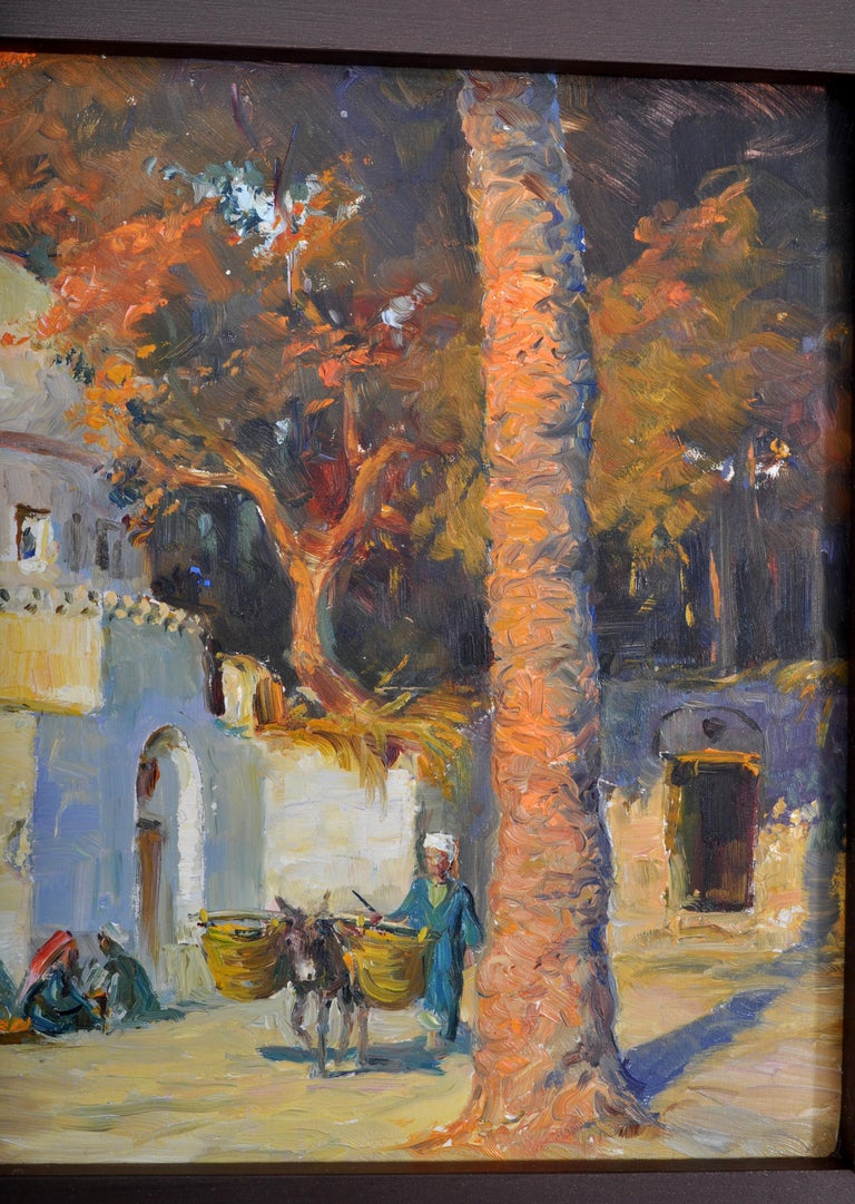 Antique Orientalist Painting, Cairo, Egypt, Oil on Panel, Tony Binder circa 1895 In Good Condition For Sale In Portland, OR