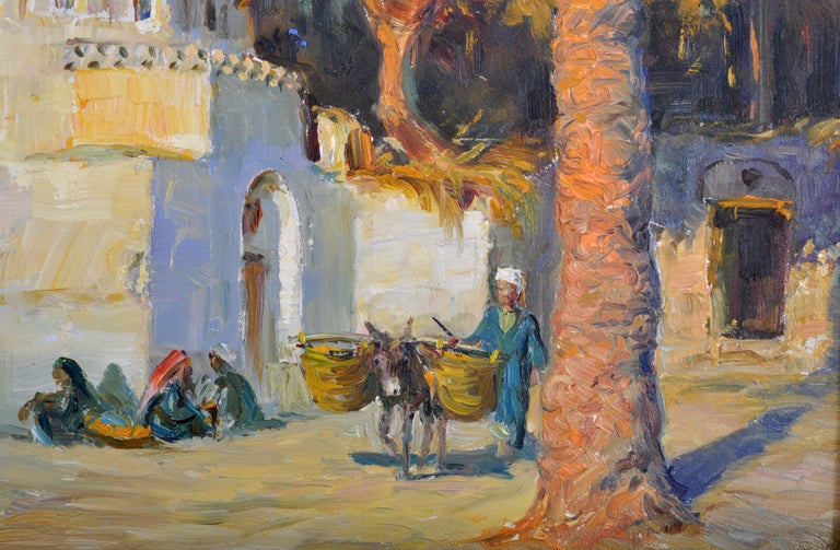 19th Century Antique Orientalist Painting, Cairo, Egypt, Oil on Panel, Tony Binder circa 1895 For Sale
