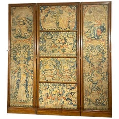 Antique Original 18th Century Flemish Tapestry Folding Screen, circa 1770-1790