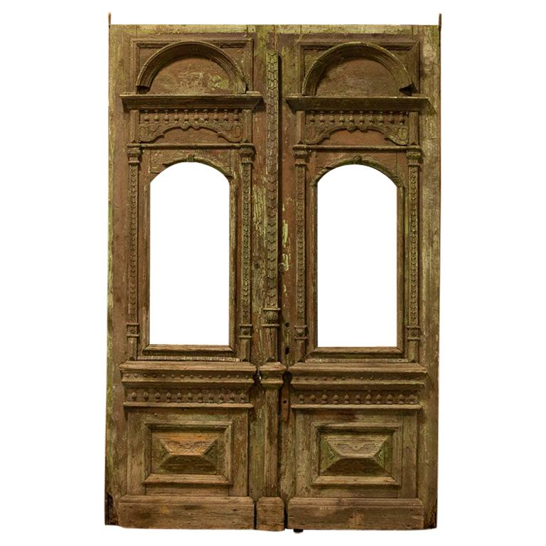 Antique Original Tall Green Painted Carved Salvaged Doors from Hungary
