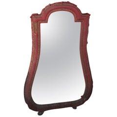 Antique Original Baroque Mirror with Claret Velvet, circa 1790