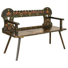 Antique Original Black Painted Bench with Bright Flowers