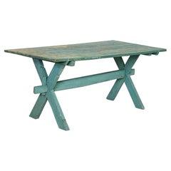 Antique Original Blue/Green Painted Farm Table