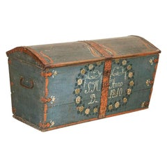 Antique Original Blue Hand Painted Dome Top Trunk, Sweden, Dated 1810