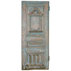 Antique Original Blue Painted Door with Architectural Panel Accents