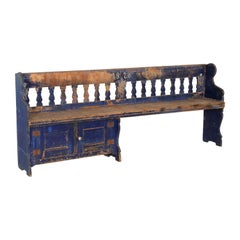 Antique Original Blue Painted Pine Bench
