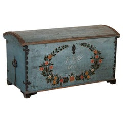 Antique Original Blue Painted Swedish Dome Top Trunk Dated 1844