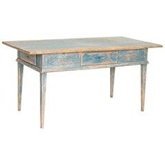 Antique Original Blue Painted Swedish Farm Table