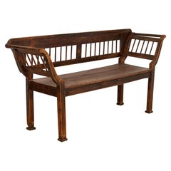 Antique Original Brown Painted Pine Bench