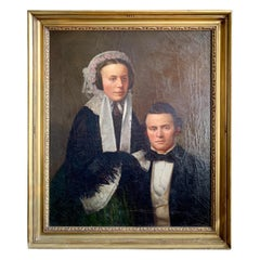 Antique Original Early 19th Century American Oil Painting of a Man and Woman