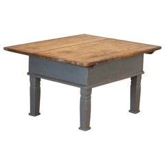 Antique Original Gray Painted Coffee Table with Storage under Top