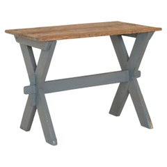 Antique Original Gray Painted Farmhouse Side Table