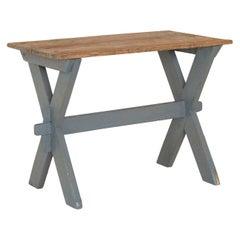 Antique Original Gray Painted Farmhouse Side Table
