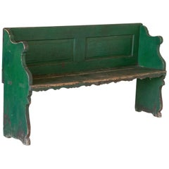 Antique Original Green Painted Pine Bench with Back from Hungary