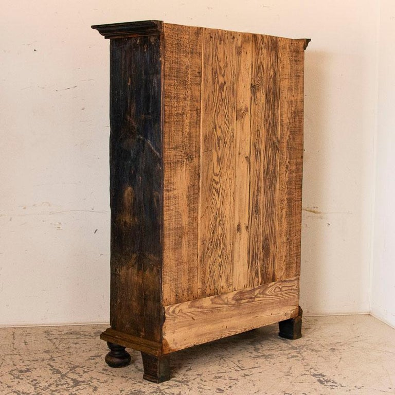 Antique Original Hand Painted Primitive Armoire In Good Condition For Sale In Round Top, TX