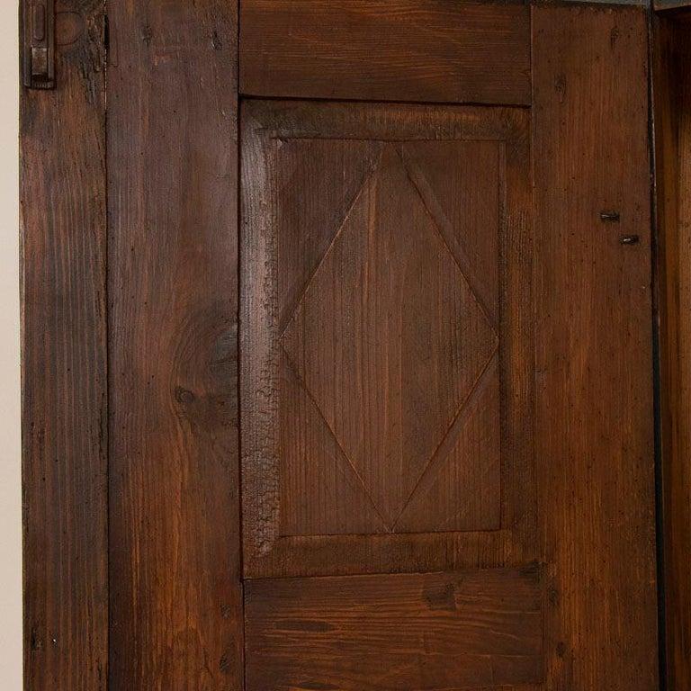 Wood Antique Original Hand Painted Primitive Armoire For Sale