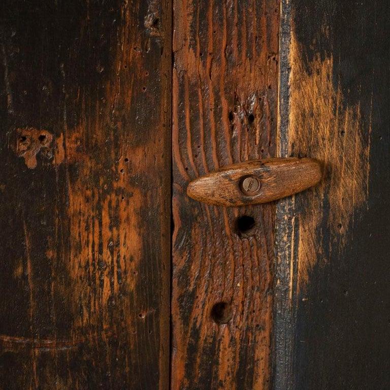 Antique Original Hand Painted Primitive Armoire For Sale 1