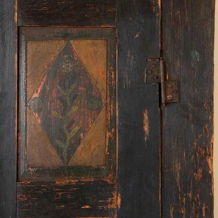 Antique Original Hand Painted Primitive Armoire For Sale 2