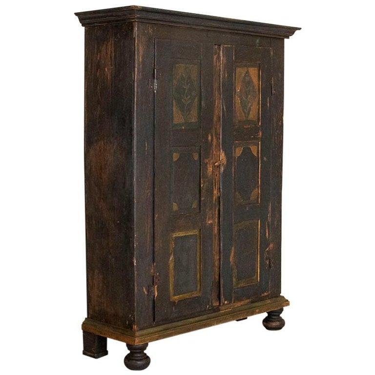 Antique Original Hand Painted Primitive Armoire For Sale