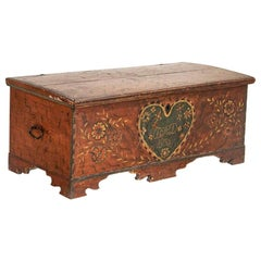 Antique Original Hand Painted Trunk, Dated 1836