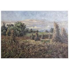 Antique Original John Munnoch Framed Oil on Canvas Landscape Painting