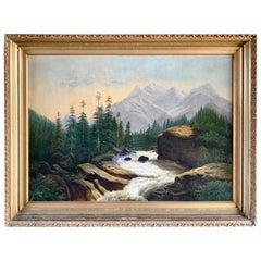 Antique Original Landscape Oil Painting of Mountains Hudson River School