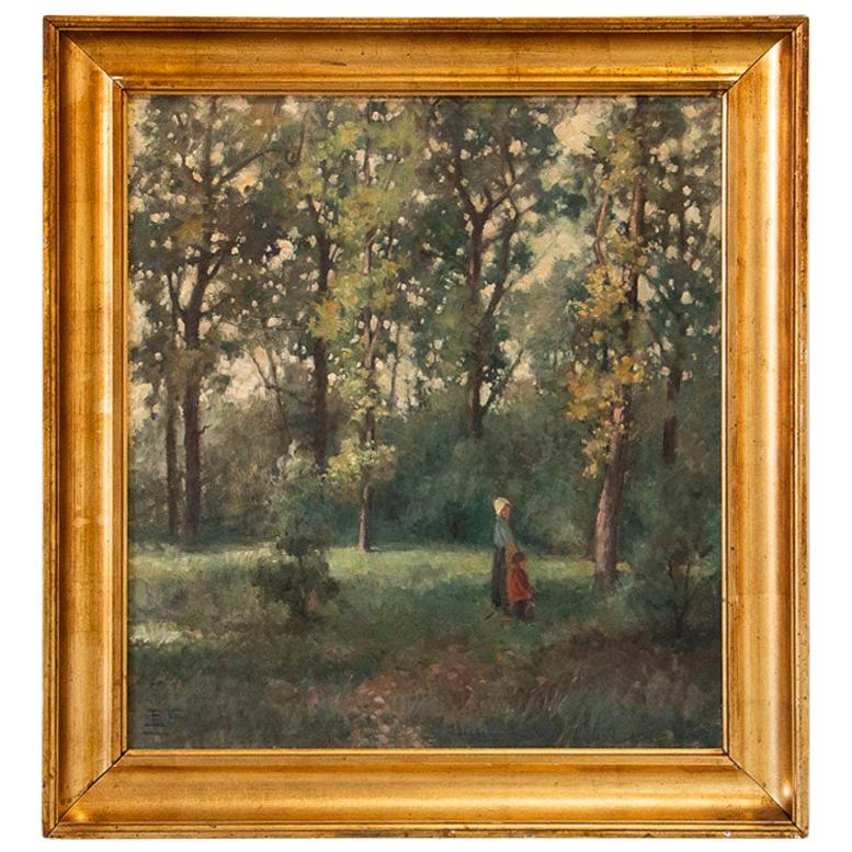 Antique Original Oil on Canvas Landscape Painting with Mother and Child, Signed