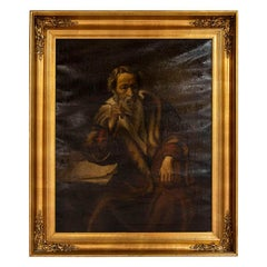 Antique Original Oil on Canvas Painting of the Apostle Thomas, Unsigned