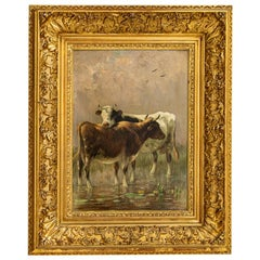 Antique Original Oil on Panel Painting of Cows Among Lily Pads