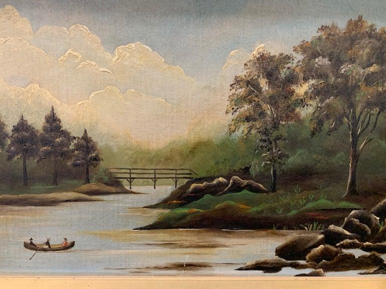 Unknown Antique Original Oil Painting Hudson River Scene For Sale