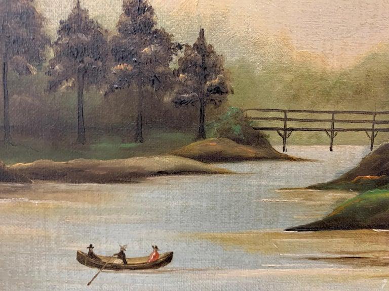 19th Century Antique Original Oil Painting Hudson River Scene For Sale