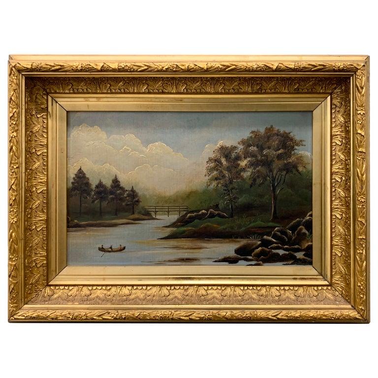 Antique Original Oil Painting Hudson River Scene For Sale