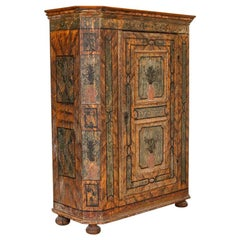 Antique Original Painted Armoire from Austria with Canted Sides, Dated 1775
