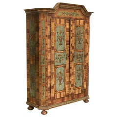 Antique Original Painted Armoire with Flowers, Germany