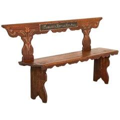 "Antique Original Painted Bench Dated 1864 with Name ""Margareta"""