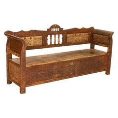 Antique Original Painted Bench with Storage Under Seat from Hungary