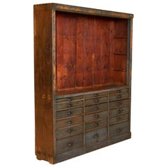 Antique Original Painted Cabinet with Multiple Drawers Apothecary