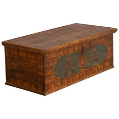 Antique Original Painted Flat Top Trunk Dated 1832