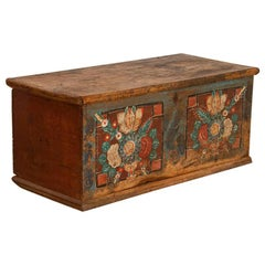 Antique Original Painted Flat Top Trunk with Bright Floral Bouquets